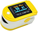 AVAX 50D - Finger Pulse Oximeter - %SpO2 (Blood Oxygen Saturation) & Heart Rate Monitor - colour OLED display with 6 modes and 4 display directions - with Instructions, Lanyard & Carry Case (in RETAIL PACKAGING) - YELLOW