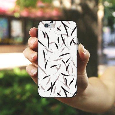 Apple iPhone 5s Housse Étui Protection Coque Feuilles Motif Motif Housse en silicone noir / blanc