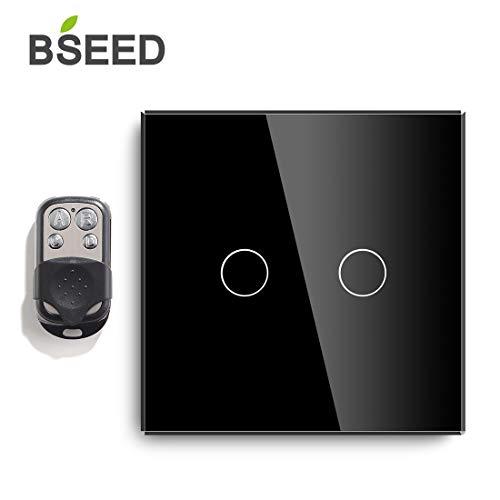 Fernbedienung Touch Lichtschalter 86mm dimmbar LED Lampe Kompatibel 2Gang 1Way Schwarz-Fernbedienung separat erhältlich (Single Pole Dual Switch)