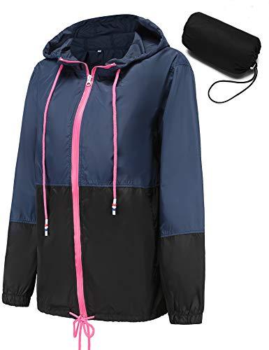 Veste de Pluie Imperméable pour Femmes Léger Veste Coupe-Vent Extérieure Manteaux à Capuche (XX-Large, Bleu-avec Poche Compressible)