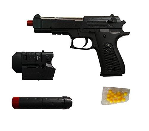 318843 Pistola de juguete con SILENCIADOR y láser de bolas de 6 mm 12