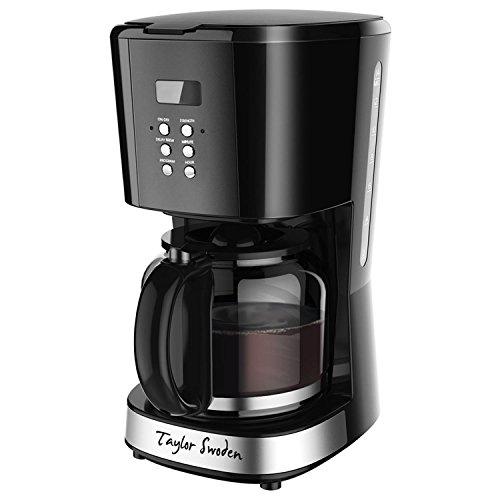 Taylor Swoden Macaron - Macchina da caffè, Capacità 1,8L, 900 Watt con filtro riutilizzabile e piatto caldo, Sistema anti-gocciolamento, timer, BPA Free, nero.900046