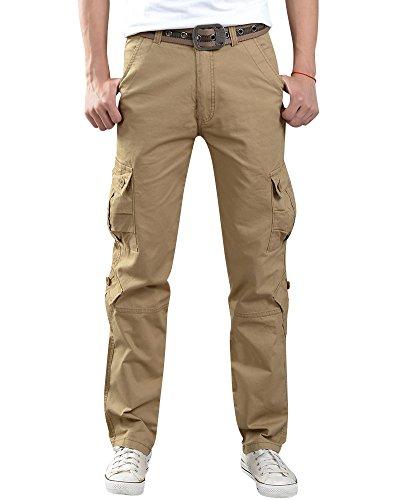 ShiFan Uomo Pantaloni Cargo Con Multitasconi Sportivi Casual Pantaloni Lunghi Stile Militare Cachi 28