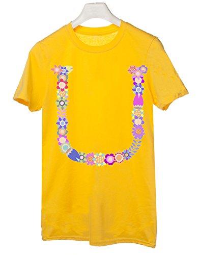 Tshirt nome con iniziale floreale u - fashion - summer - idea regalo - tutte le taglie