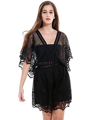SunIfSnow Women Sexy Deep V Neck Loose Bat Wing Sleeve Black Lace Playsuit XL