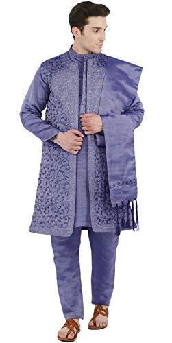 SKAVIJ Herren Kurta Pyjama Jacke und Stola Besticktes Kleid (Blau, Brustumfang - 102 cm) -