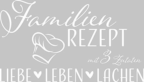 GRAZDesign Wandtattoo Familientattoo - Wandtattoo Sprüche Zitate Familien Rezept - Wandaufkleber Liebe Leben Lachen / 53x30cm / 010 Weiss (Leben Lachen Liebe Weiß)