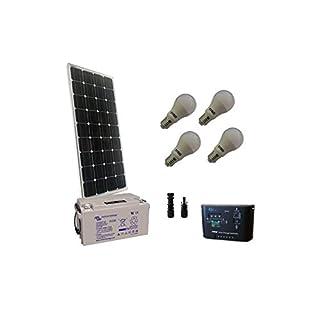 puntoenergia Italien–Kit Solar Beleuchtung LED 100W 12V Mono Solarmodul Innen Batterie 60Ah–kil-100m-12-b60-avf