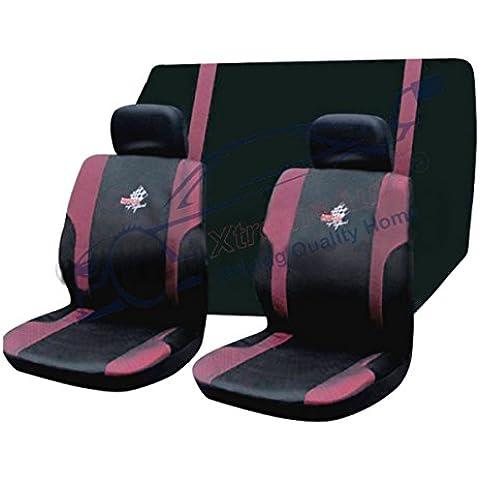 Xtremeauto® completo 6 pezzi, WRX Super Sport Set copertura sedili anteriori e posteriori, colore: nero/rosa (trasparenti)
