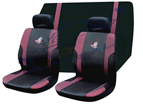 Super Sheer (xtremeauto® Komplett 6-teilig, WRX Super Sport, vorne + hinten Sitzbezug-Set schwarz/pink (Sheer))