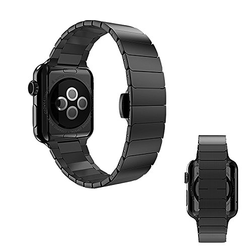 Apple Watch Series 1, Series 2, Edition 42 mm OKCS Bracelet - Butterfly Closure Luxury Watchband - Strap Genius Stainless Steel - incl. Connector - in Black