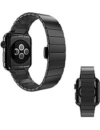 OKCS Edelstahl Armband für Apple Watch Series 1, Series 2, Edition 42 mm OKCS - Butterfly Verschluss Luxus Uhrenband - Strap Genius Stainless Steel - inkl. Connector Stiftausdrücker - in Schwarz