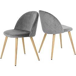 Lot de 2 chaises/fauteuils de salle à manger & salon en velours gris. Style Scandinave, pieds métal avec finition chêne clair.