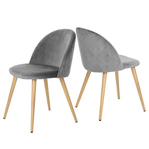 Coavas Esszimmerstühle Wohnzimmerstühle Küchenstühle 2er Set Samt Weich Kissen Sitz und Rücken Mit Hölzernen Metallbeinen für ESS- und Wohnzimmer, Grau