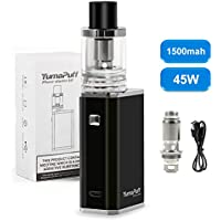 E Cigarette Starter Kit, YumaPuff Plover Kit, Recargable 1500mah Simple Operation LED Box Mod, Inferior Airflow Sub Ohm Tank, Enorme Vapor Kit de Cigarrillo Electrónico, No E Liquid, Nicotine Free