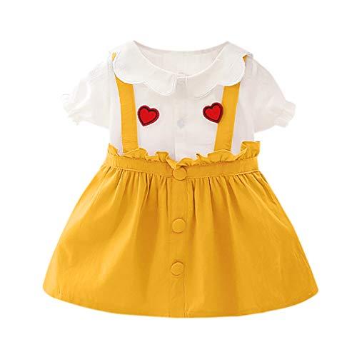 Zylione Baby Kleid MäDchen Kurzarm Puppe Kragen Liebe GekräUselte Spitze GefäLschte Zweiteilige Rock Prinzessin Kleid - Slip Puppe Kleidung