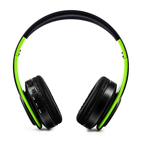 Bluetooth Kopfhörer über Ohr, HiFi Stereo Wireless Headset, faltbar, Soft Memory-Protein Ohrenschützer, mit Mic und Wired Mode für Iphone 7 7Plus/PC/Handys/TV/Android Smartphone etc (Schwarz + Grün) - Wired-oder Wireless Mic