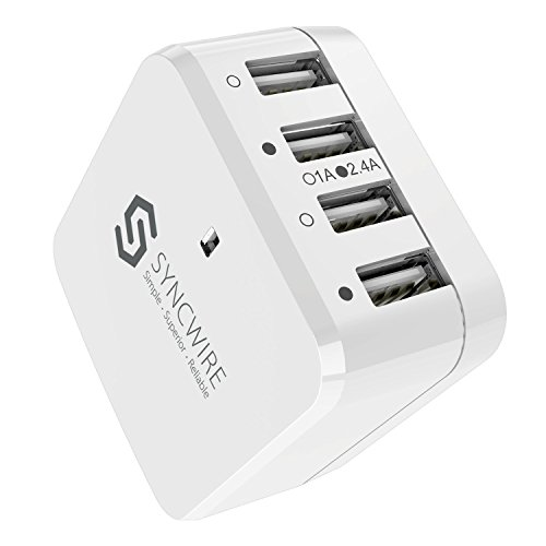 Syncwire USB Ladegerät USB Netzteil - 6,8A 34W 4-Port Smart Charge Reiseadapter mit EU/UK/US Reise Adapter geeignet für iPhone, iPad, Samsung, Smartphone, Tablet, Powerbank - Weiß -