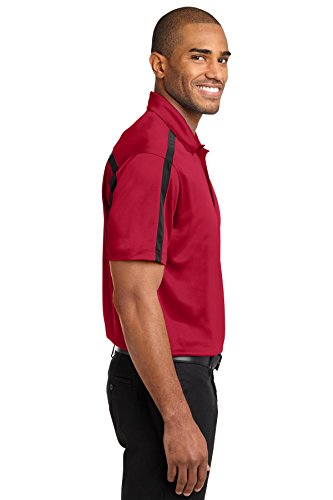 Port Authority Herren Seide Colorblock Stripe Polo Rot - Red/ Black