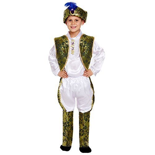 Henbrandt Kinder Jungen Indian Prinz Maharadscha asiatisch Bollywood Turban Hut Halloween Kostüm Kleid Outfit - 4-6 Jahre / EU ()