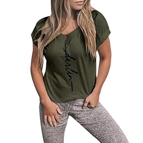 iHENGH Damen Top Bluse Bequem Lässig Mode T-Shirt Frühling Sommer Blusen Frauen Mädchen Plus Size Print Tees Shirt Kurzarm Tops(Grün, M)