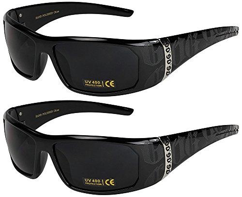2er Pack Locs Sonnenbrillen Motorradbrille Sportbrille Radbrille - 1x OG 2003 schwarz und 1x OG 2003 schwarz