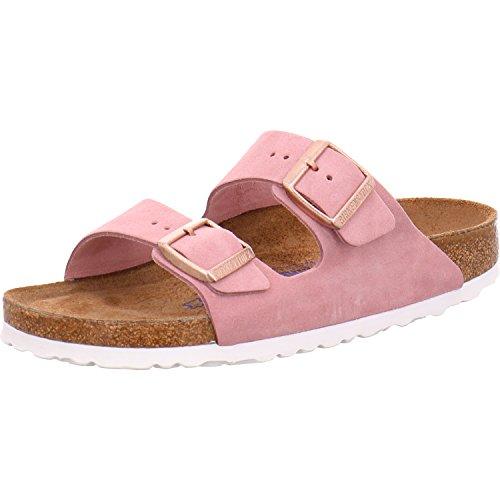 Birkenstock Classic Damen Arizona Leder Softfootbed Pantoletten, Pink (Rose), 39 EU