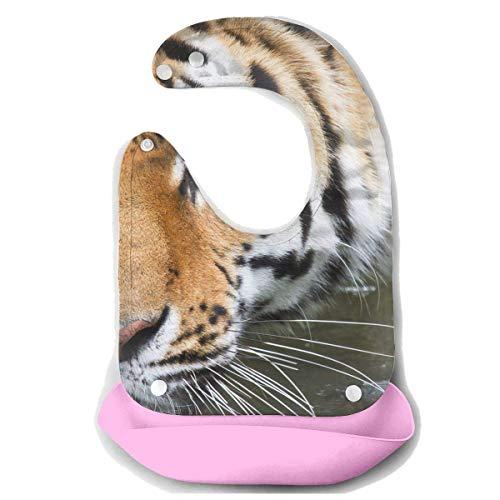 Liumiang L?tzchen Bathing Tiger Baby's Bionic Bib Silicone Bib,Eco-Friendly Non-Toxic Adjustable
