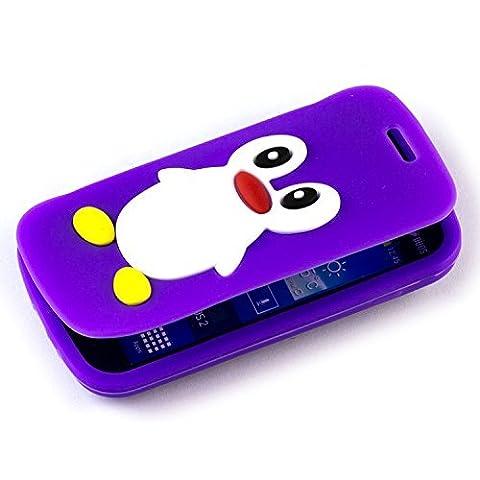 Beiuns Coque à rabat en Silicone pour Samsung Galaxy Trend Plus S7580 / Galaxy S Duos 2 S7582 TPU Coque - Q105 pingouin (violet)(NON compatible avec Trend Lite S7390 / S7392)