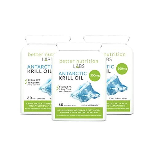 Antarctic Krill Oil 3 Month Supply 500mg by Better Nutrition Labs – Sourced from Superba Krill...