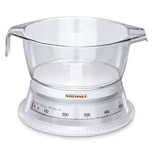 Soehnle 65418 Küchenwaage Vario, Weiß/Glasklar