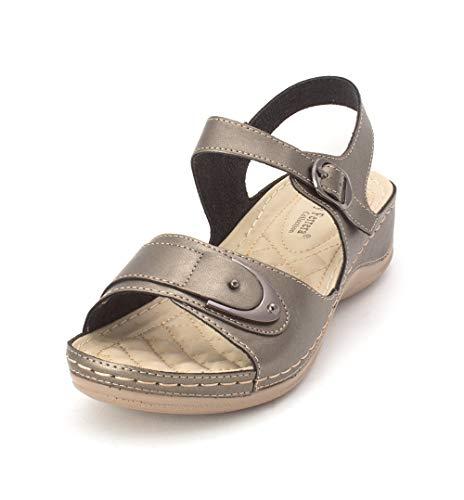 8fbdab89672f9 Henry Ferrera Womens Comfort-72 Leather Open Toe Casual Slide