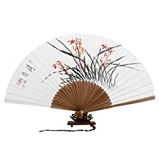 Hand Painted Folding Red Orchid Painting Korean Mulberry Rice White Paper Bamboo Art Wooden Asian Oriental Wall Deco Handheld Decorative Fan