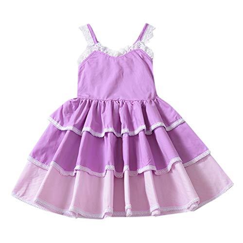 (YWLINK MäDchen Farbverlauf Sling ÄRmellos Sommer Kleiden Prinzessinenkleid Party Hochzeit Tutu Kleider Abendkleid Cocktailkleid(Lila,110))