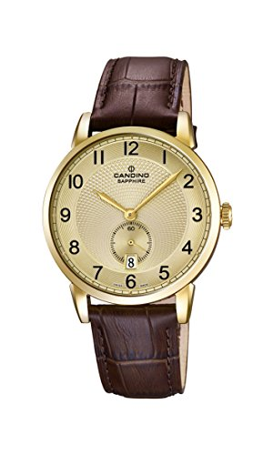 Candino reloj hombre de cuarzo dorado con esfera analógica pantalla y correa de piel color marrón C4592/3