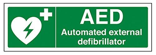 vsafety 31036an-s AED Automatiesierter Externer Defibrillator Erste Hilfe Allgemeine Zeichen, selbstklebend, Landschaft, 300mm x 100mm, grün
