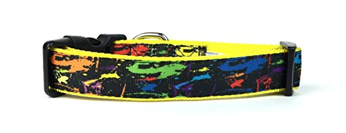 Midlee Colorful Paint Splatter Nylon Band Halsband Hund, Medium, Yellow Orange Green Blue Pink
