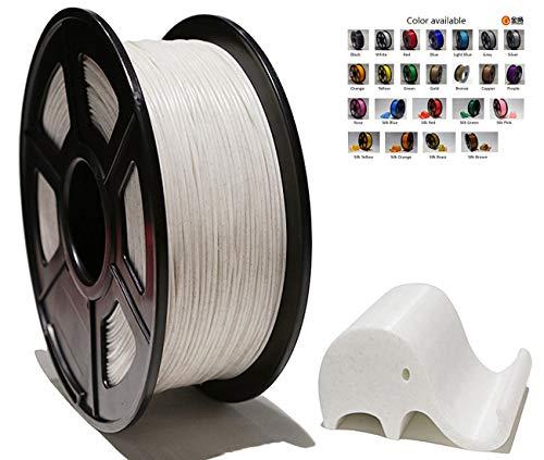 Polysmart PLA-SILK Filament 1,75 mm 1kg, Kunstmaterial fuer 3D Drucker und Stift, Marmor Weiss/Marble white
