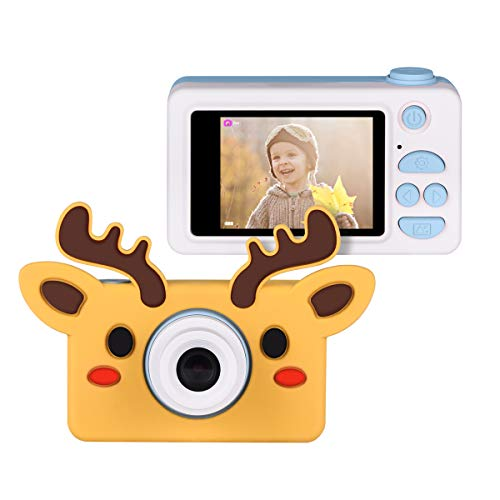 Upgrow Kinder Kamera Niedlich Digital Kamera 2.0 Zoll LCD Display, Cartoon Kinder Kamera mit Niedlich Cartoon Schutzthülle, Kinder Geschenk(Blau)