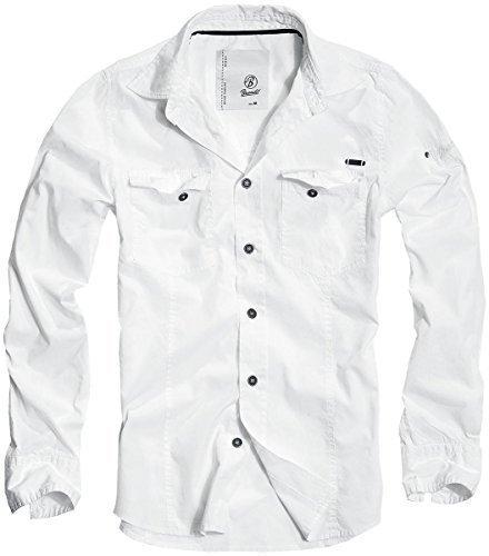 BRANDIT Men Slim Shirt Herren Hemd Weiss 3XL (Retro Für Western-hemden Männer)