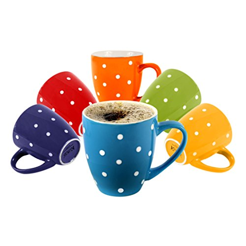 klikel 6farbigen Kaffee Tassen, Klauenhammer, flache Unterseite Porzellan Geschirr, verschiedene Farben A WONDERFUL GIFT This crockery set makes the perfe Colored - Polka Dot (Polka Dot Geschirr)