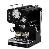 IKOHS THERA RETRO - Macchina del Caffè Express per caffè espresso e cappuccino, 1100 W, 15 bar, vaporizzatore regolabile, capacità 1,25 l, caffè macinato e monodose, con doppia uscita (Nero)