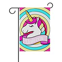 Buyxbn 12x18 inches Garden Flag Unicorn Double Sided House Yard Indoor Outdoor Seasonal Decoration Small