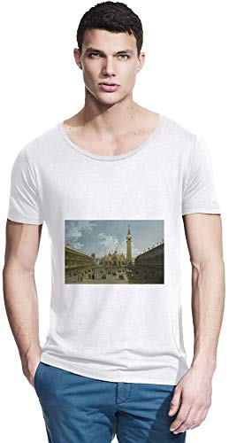 Top Paintings of All Time Bernardo Bellotto - Venice, Piazza San Marco Painting Men Bamboo Wide Neck T-Shirt Stylish Fashion Fit Custom Apparel by Small