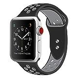 Cinturino Apple Watch 42mm, Cinturino in Silicone Morbido per bracciali di Ricambio per Apple Watch Sport Series 3 Series 2 Series 1 (42mm Nero/Grigio)