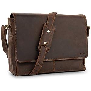 TALED® Premium Messenger Bag Herren – Laptoptasche Leder mit 15,6 Zoll – inkl. Schulterpolster – Hochwertige Herren…