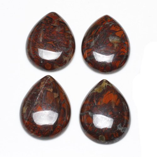 1 x Red Poppy Jasper 30 x 40mm Drop-Shaped Flat-Backed Cabochon - (CA16816-8) - Charming Beads