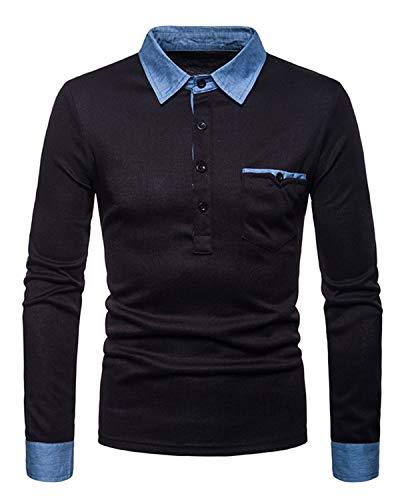 JOLIME Polo Homme Manche Longue Mince Fit Coutures en Denim Casual Basic Tennis Golf T-Shirt Noir...