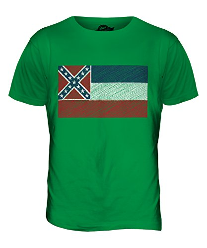 CandyMix Bundesstaat Mississippi Kritzelte Flagge Herren T Shirt Grün