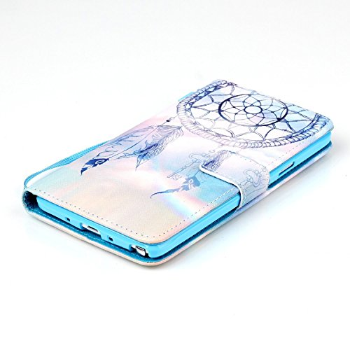 Copertura per Samsung Galaxy Note 4 in pelle, Samsung Galaxy Note 4 Custodia Portafoglio, Note 4 Case Cover, Ukayfe blue Wave-this iphone is locked Design dellunità di elaborazione di vibrazione del  blu-Fantasy Campanula